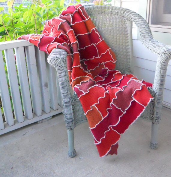 Recycled Sweater Patchwork Brick Wall Blanket Afghan Upcycled Throw Fall Autumn Thankful Rose
