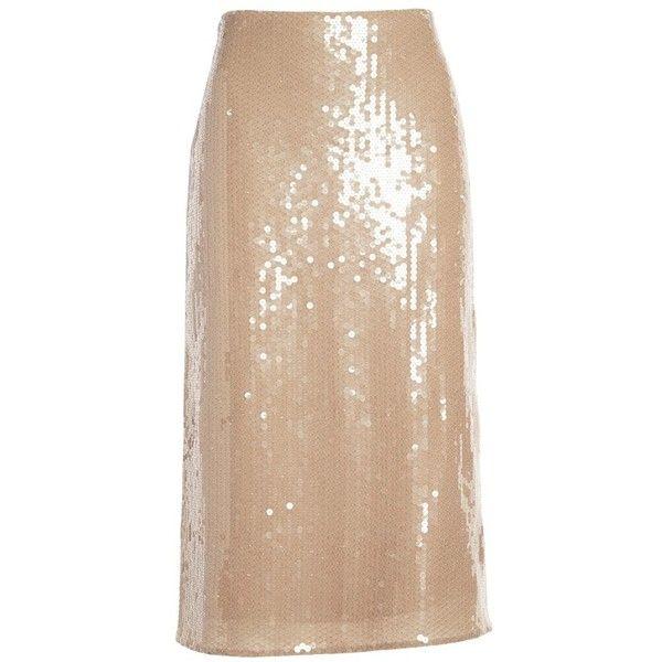 Nina Ricci Matte Sequin Pencil Skirt ($860) ❤ liked on Polyvore featuring skirts, silk skirt, silk pencil skirt, beige pencil skirt, knee length pencil skirt and nina ricci skirt