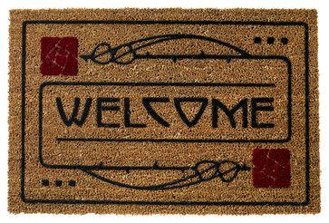 Arts and Crafts Dard Hunter Design Rose Motif 29 x 19 Door Mat craftsman-doormats
