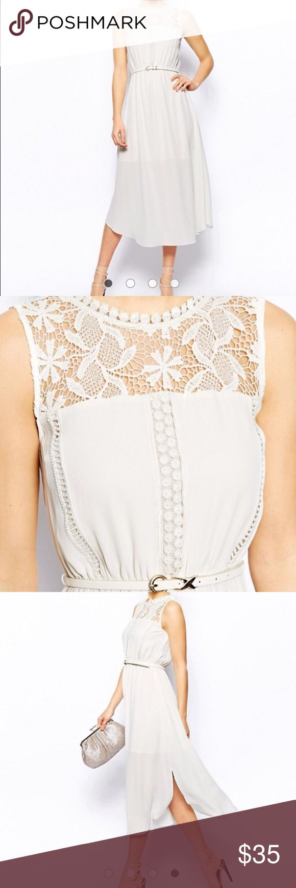 Asos Oasis Column Lace Midi Dress - Ivory Oasis Column Lace Midi Dress - Ivory. Lined to fingertip length. Belt included. Like new, Only worn once! From a smoke free home! Asos Dresses Midi