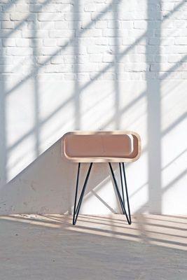 Mobilier - Tables basses - Table d'appoint Metro End / 58 x 40 x H 50 cm - XL Boom - Bois naturel / Noir - Bois d'Hévéa, Métal peint