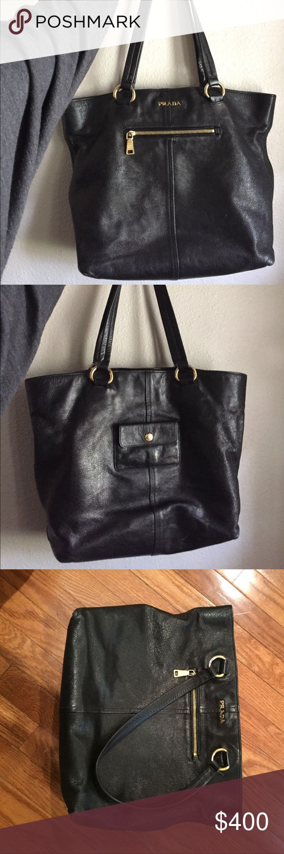PRADA tote!!  Perfect for your catch all purse! Bought this tote in Las Vegas at the Prada store and have given it a lot of love! It is perfect for a laptop case, purse, travel bag, etc.  Black leather with gold accents! Prada Bags Totes