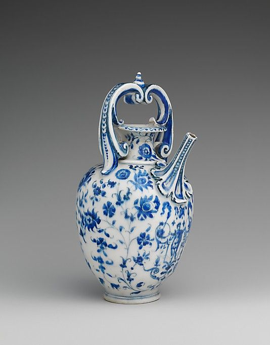 "'Ewer' c. 1575–87 Italy, Soft-paste porcelain. ""Porcelain was first produced in Europe in Florence under the patronage of Francesco de Medici, grand duke of Tuscany (r. 1574–87). This ewer, one of only fifty-seven known pieces of so-called Medici porcelain, combines numerous influences: the form is related to goldsmiths' work and to majolica, the blue-and-white scheme is Chinese, and the floral decoration is borrowed from Isnik pottery."": Florence Italy, Dates, Ewer Medici, Soft Paste Porcelain, Florence Medium, Antique, Medici Porcelain"