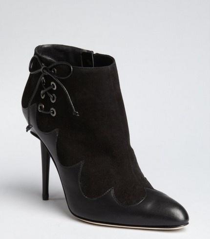 Manolo Blahnik black leather corset detail 'Peron' ankle boots