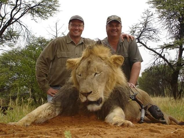 Dr Death, left, with Cecil a trophy lion he killed during a hunt in Africa.