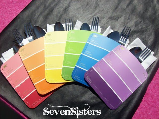 Art Party Paint Chip Napkin Holders. You find whatever color paint swatches you love, put two back to back and sew up the three edges. Simple and Awesome!