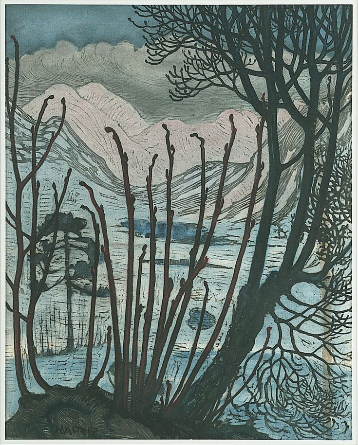 Nikolai Astrup (Norwegian,1880-1928) Elements from Spring and Will Colour woodcut with hand-colouring