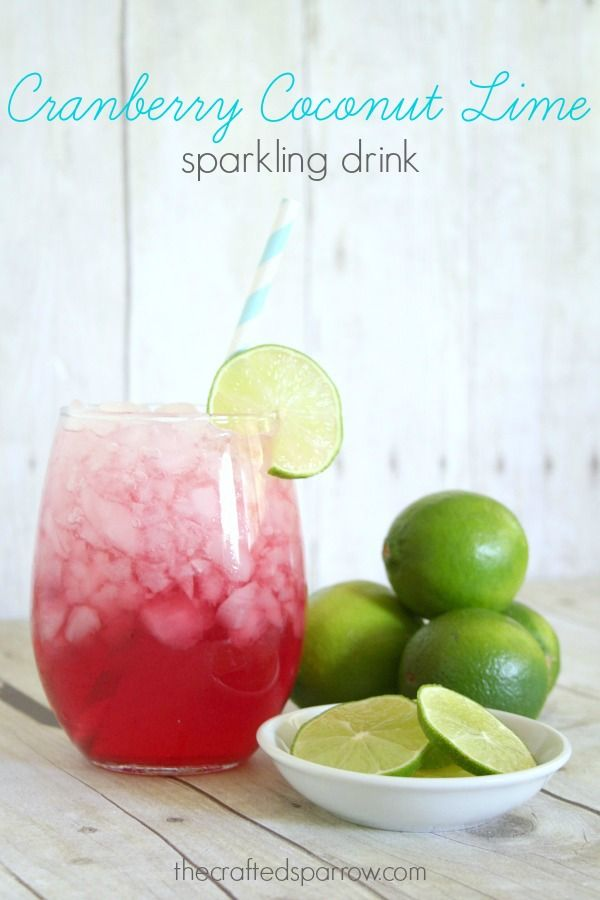 cranberry coconut lime sparkling drink