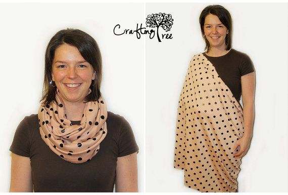 Nursing Cover, Infinity Nursing Scarf, Infinity Scarf - Mauve with Black Dots - Finished Edges