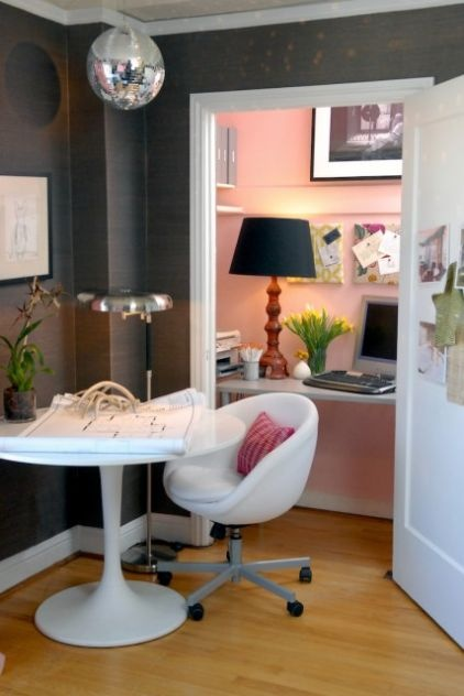 love the gray and pink in this eclectic home office by Ed Ritger Photography