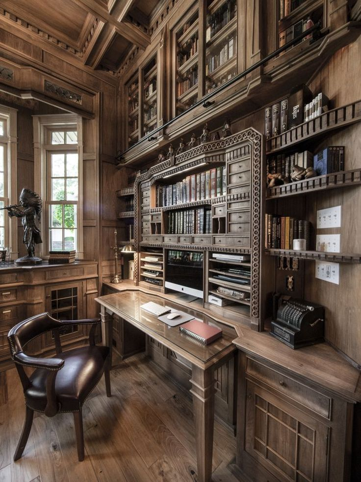 Custom made desk corner in a Custom made library by Jim Cardon