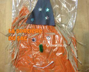 La sorcière du sac - Bricolage d'Halloween pour enfants.