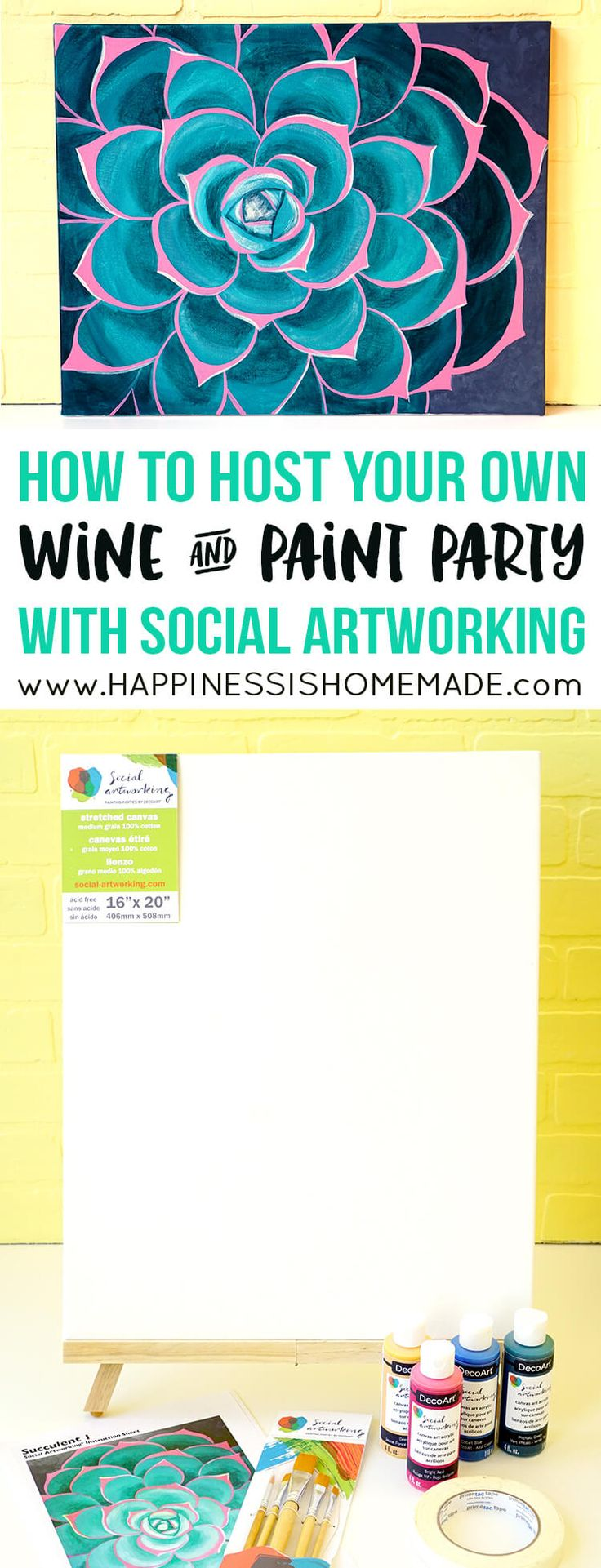 It's so much fun (and SO easy!) to host your own wine and painting party with Social Artworking! Anyone can paint with these easy to follow steps!