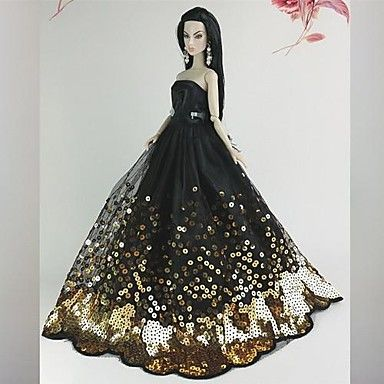 USD $ 10.99 - Barbie Doll Deluxe Black and Golden Sequin Wedding Dress, Free Shipping On All Gadgets!