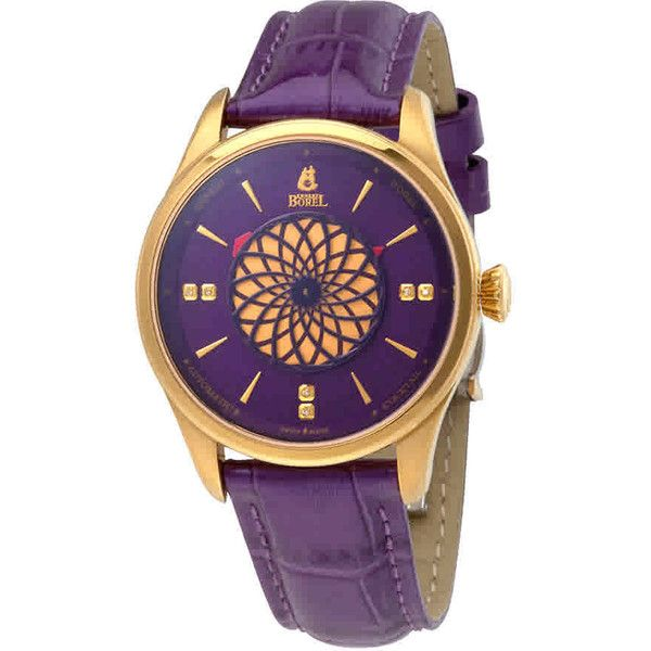 Ernest Borel Cocktail Automatic Purple Dial Ladies Watch ($870) ❤ liked on Polyvore featuring jewelry, watches, see through watches, transparent dial watches, stainless steel jewelry, dress watch and analog wrist watch