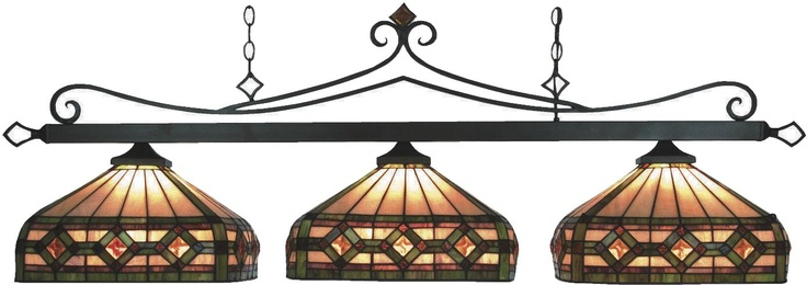 Bronze Tiffany Style Pool Table Light -