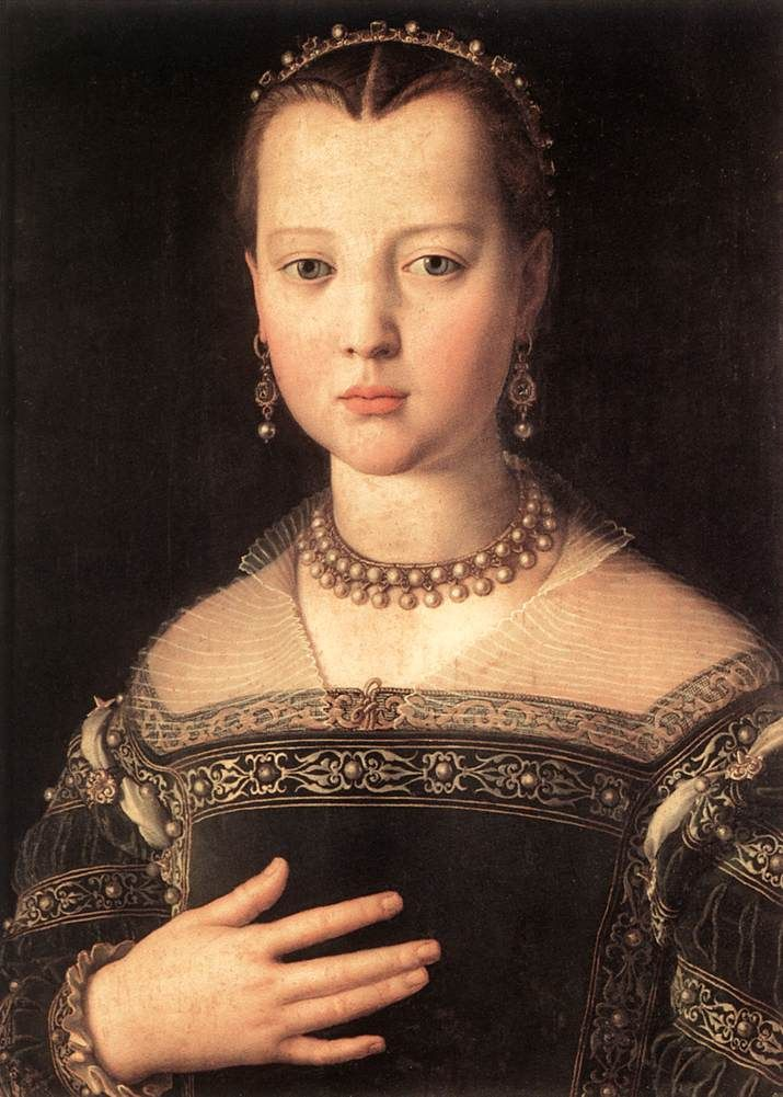 I am really interested in the hair in this piece. The rolls are similar to what you see in Spain at the time, but they are much smaller, and a much different shape. I wonder if it is a product of a widows peek or if it is something else entirely. Maria (di Cosimo I) de' Medici by Agnolo Bronzino ca. 1551