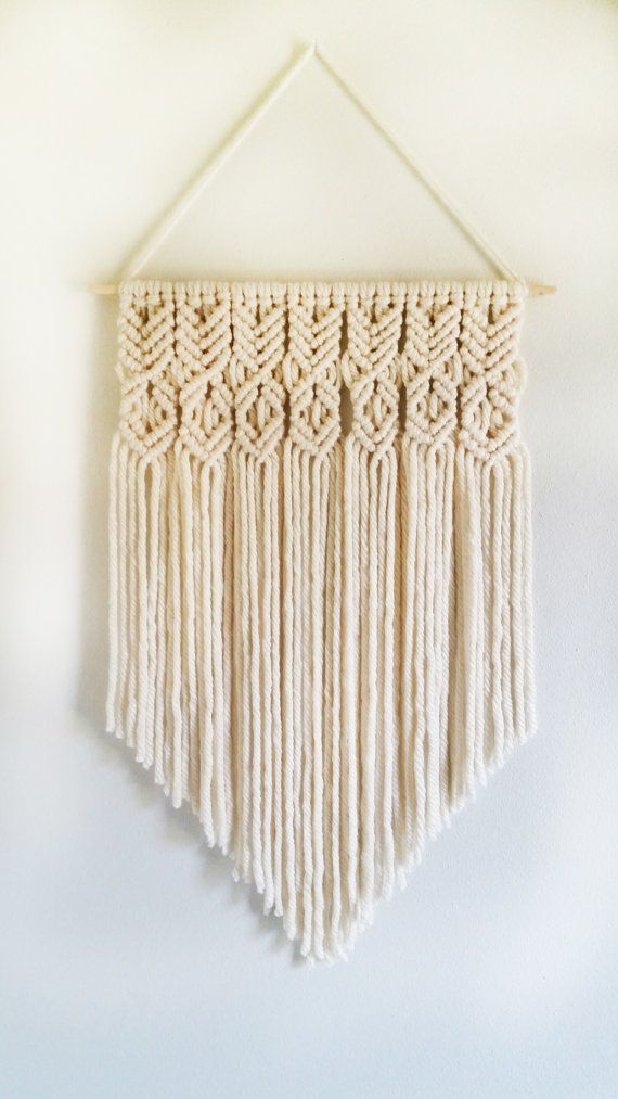 Cream Colored Handmade Macrame Wall Hanging Micro