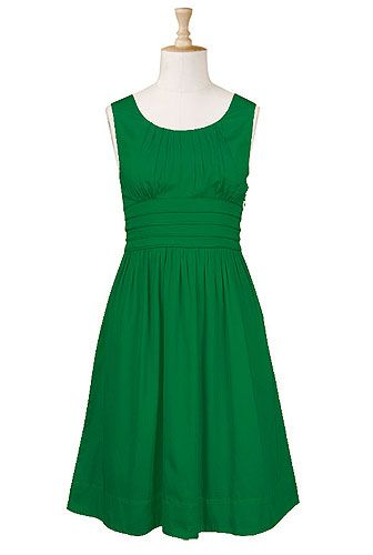 Pleat waist poplin dress $59.95Green Dress