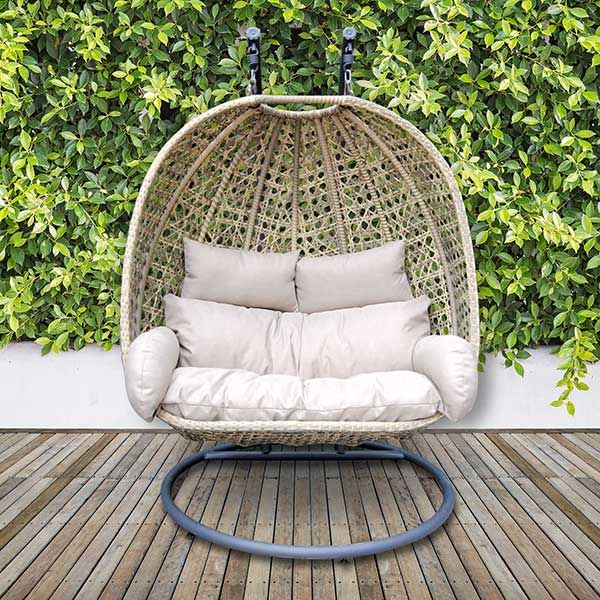 Hambleden Deluxe Double Hanging Garden Chair Natural Weave With Wheatgrass Fabric Available Online At Barker Hanging Garden Chair Hanging Garden Garden Chairs