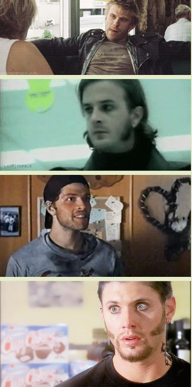 [GIFSET] Supernatural Cast, the punk years! click through for bonus gif of the King of Hell.
