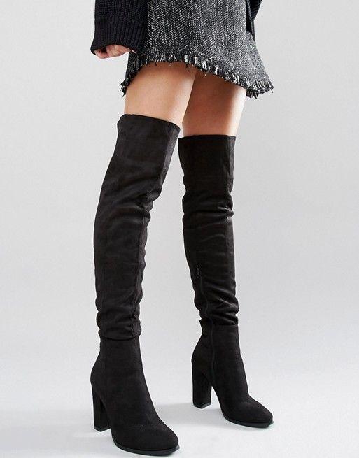 Daisy Street | Daisy Street Black Heeled Over The Knee Boots