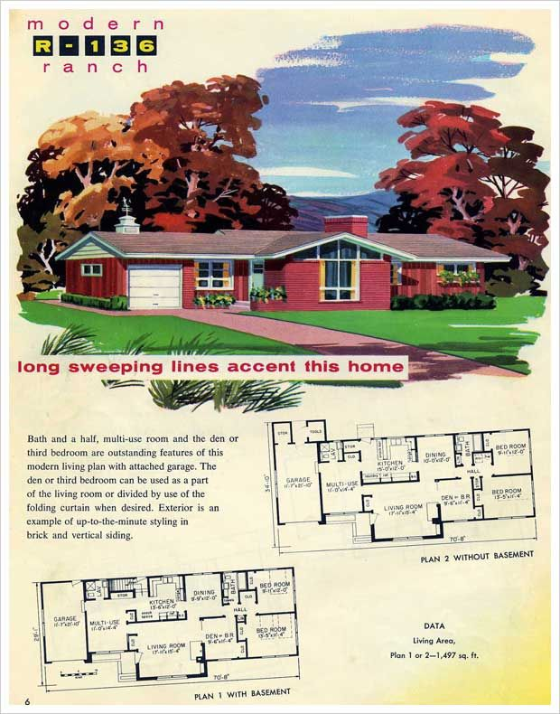 1950s Gabled Ranch House Plan Mid Century Modern Dream