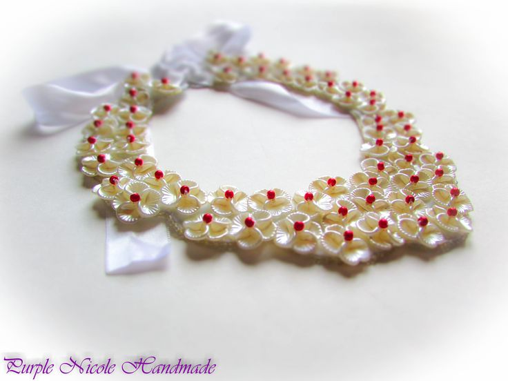 Drops of Passion - Handmade Statement Necklace made by Purple Nicole (Nicole Cea Mov). Materials: ivory flowers, small red pearls, seed beads, felt, white ribbon.