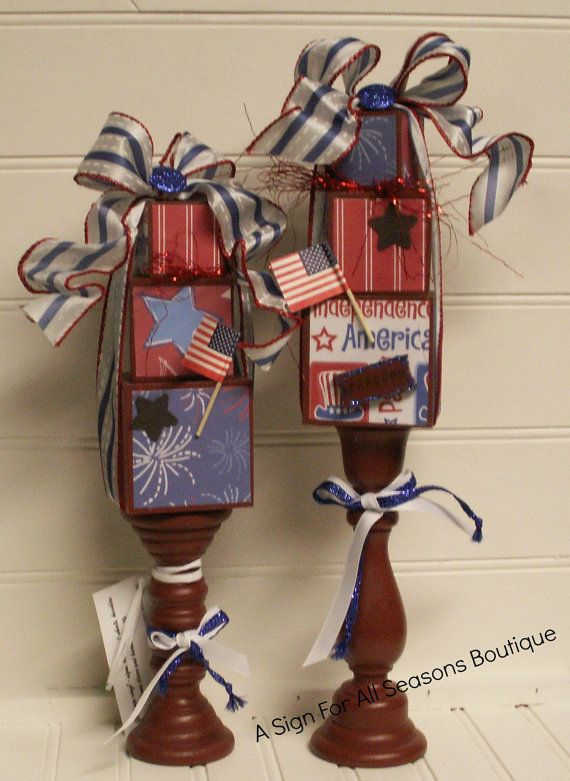 4th of July Homedecor Stacker topiaries