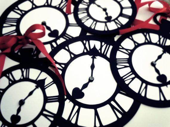 Alice In Wonderland Wedding Decoration/Prop-Jumbo Pocket Watch Clock- Set of 5- Black/White- The White Rabbit via Etsy
