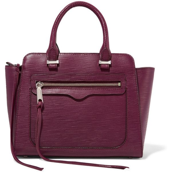 Rebecca Minkoff Mini Avery textured-leather tote ($163) ❤ liked on Polyvore featuring bags, handbags, tote bags, purple, tote handbags, zippered tote, purple tote bag, purple purse and tote purse