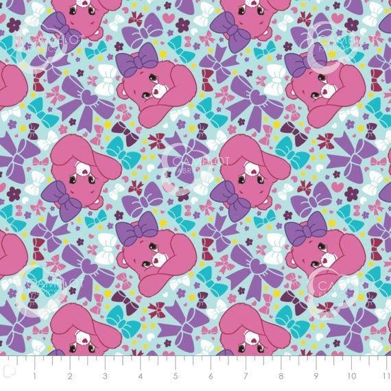 Camelot Fabric Care Bears Bedtime Bear in Blue HALF METRE