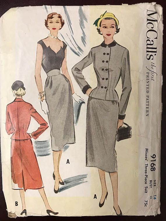 McCall's 9168 Vintage Sewing Pattern 1952 Fitted Skirt, Suit & Blouse Size 14 Bust 32 on etsy.com. jwt