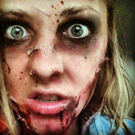 Diy Zombie With Old Makeup Elmers Glue And Toilet Paper