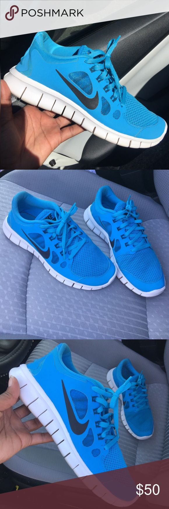 Nike Free 5.0, Blue, 5.5Y Nike Free 5.0, Blue, 5.5Y, UK 5, EUR 38. Gorgeous blue sneakers, preloved condition. Make these yours today! The sizing is youth but I normally wear size 6 in Nike women and these fit me with no issue. I just don't reach for these as often anymore. Nike Shoes Sneakers