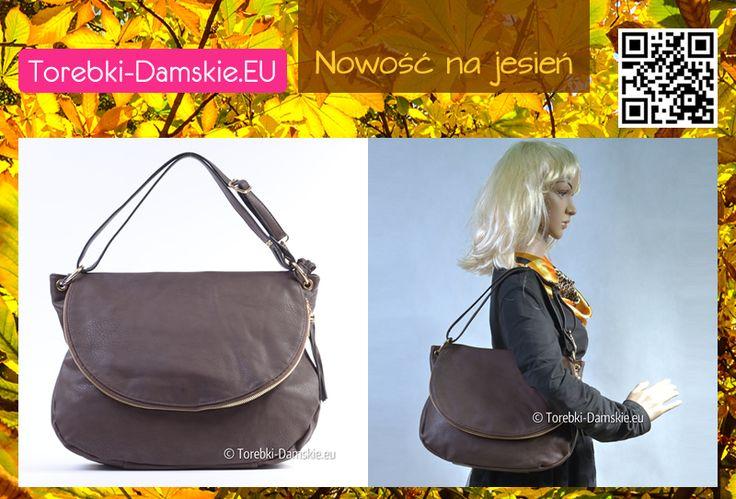 Torebka w kolorze ciemnobrązowym, z klapą, złotymi elementami metalowymi. #handbags #torebki Wymiary to 38 x 32 cm