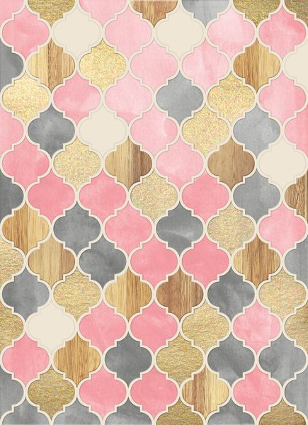 Silver Grey, Soft Pink, Wood & Gold Moroccan Pattern Art Print by Micklyn Le Feuvre