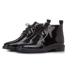 QMN véritable cheville en cuir bottes pour Femmes Noir Militaire Bottes de Combat Chaussures Femme En Cuir Verni Travail Bottes Botas Femininas(China (Mainland))