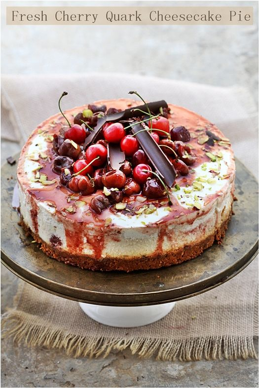 Fresh Cherry Quark Cheesecake... full of flavour and lighter on calories than the traditional version