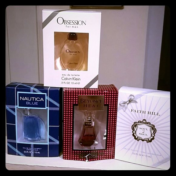 Men's and women's perfume/cologne 4- 0.5oz bottles,2 men's and 2 womens. For women, Faith Hill soul 2 soul and Beyonce Heat. For men, Nautical blue and Obsession. obsession  Other