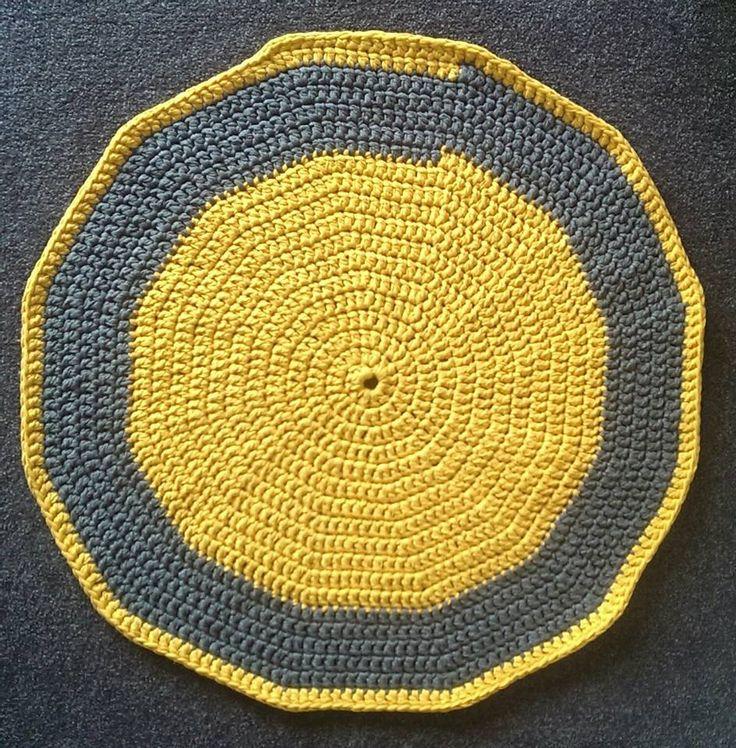 Yellow and Grey hand made crochet rug, using Ribbon XL.