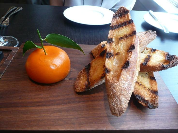 Meat Fruit (Mandarin Chicken Liver Parfait) - Heston Blumenthals restaurant, Dinner.  1 Michelin Star