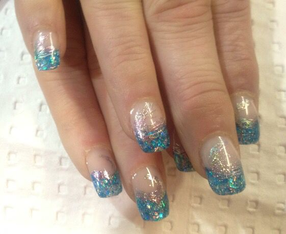 French Nails with glitter acrylic.