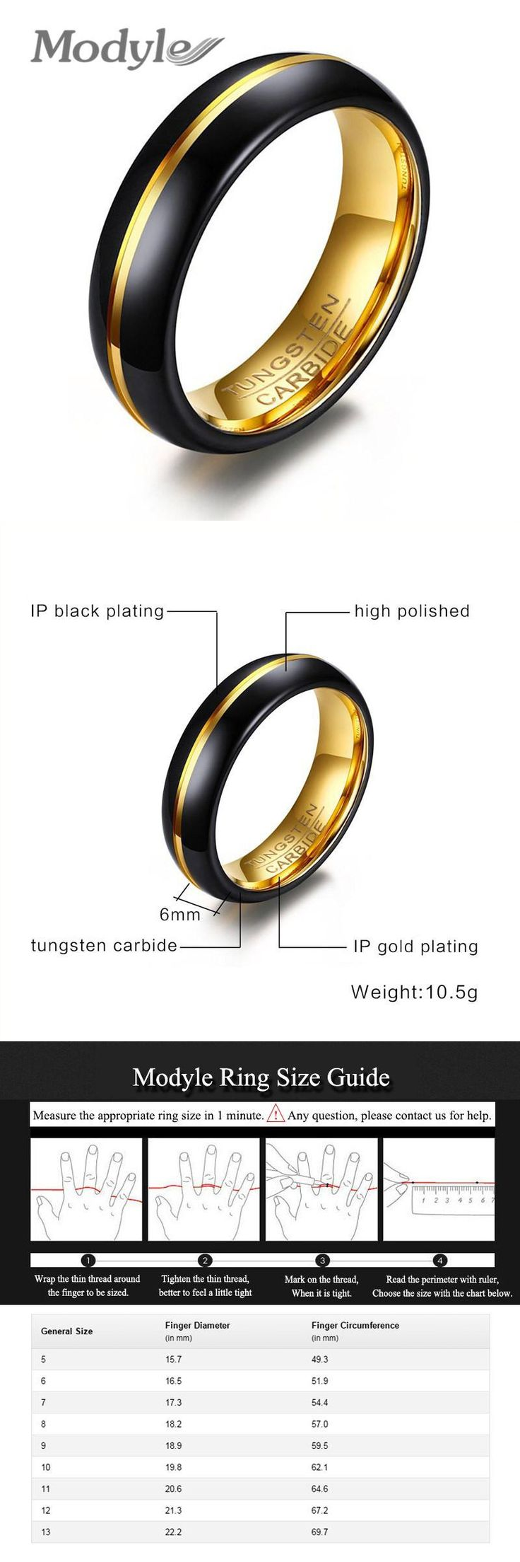 [Visit to Buy] ZORCVENS 2017 New Cool Black and Gold-Color Tungsten Ring for Men Jewelry 6MM Black Tungsten Carbide Ring #Advertisement