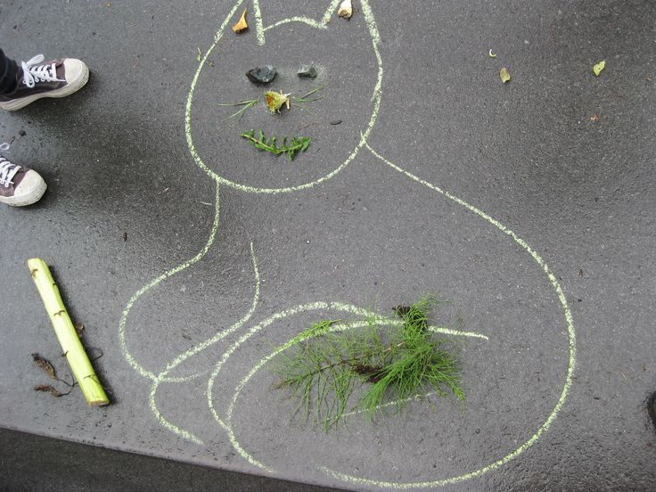 Drawing an image with chalk or using your own shadow and then simply finding nature to fill in the features. Allows children to learn how nature can be used in so many different ways.