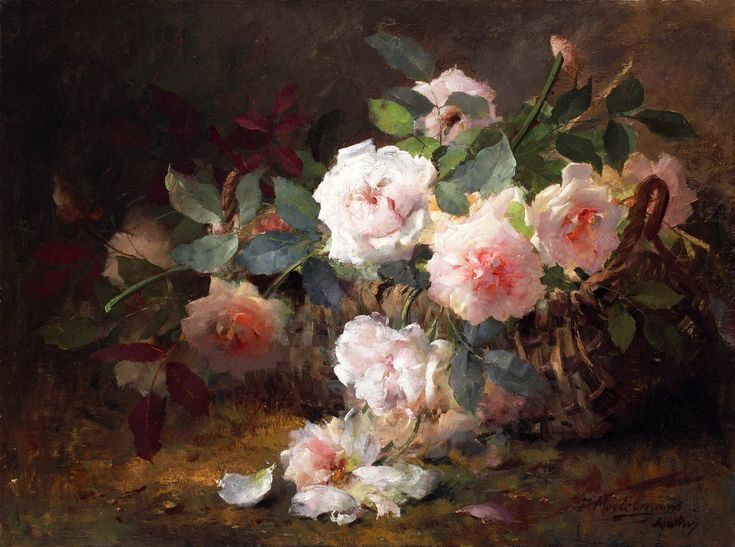 German Oil Painting L Horst Flowers