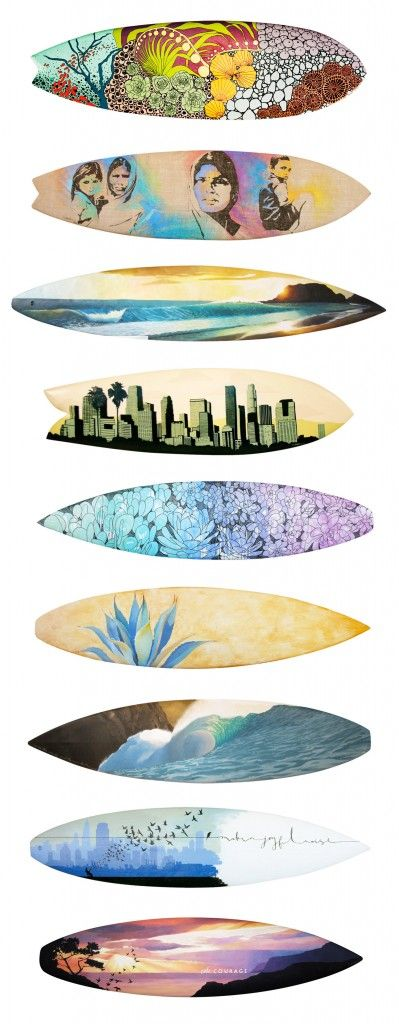 Resurface Art   combines design, surfing and innovation to create custom art on vintage surfboards giving clean water to developing countries in Africa.  www.resurface.com