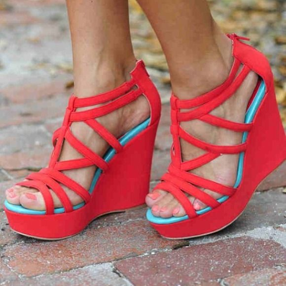 Beautiful Coral and Mint Wedges brand new size 6 Never worn beautiful coral wedges with mint on the inside. Absolutely love them but have no place to wear them too more pictures upon request!  Shoes