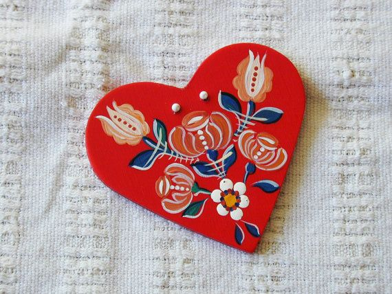 Garden's Glory - Series 01 - red, handpainted wood laminate heart inspired by traditional, historic Transylvanian style