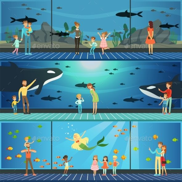 People visiting an oceanarium set of vector Illustrations, parents with children watching underwater scenery with sea animals in g
